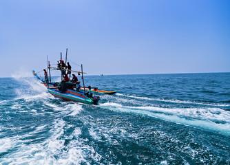 Fishermen Colorful fishing boats, Sri Lanka