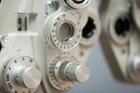 Close up of autorefractor at optometrist clinic