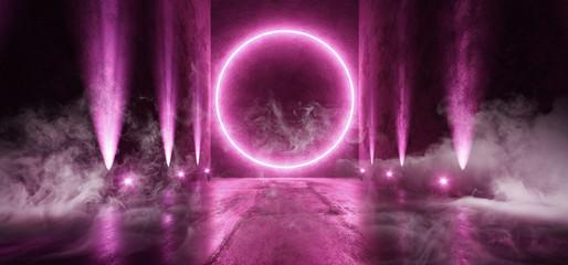 Smoke Circle Sci Fi Futuristic Background Vibrant Purple Ultraviolet Pink Neon Arc  Big Huge Dark Empty Grunge Concrete Long Hall Gallery Room Tunnel Corridor Spotlights Glowing 3D Rendering Wall mural