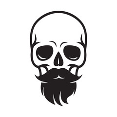 sign skull with beard and mustache, for barbershop or halloween
