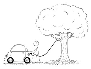 Cartoon stick figure drawing conceptual illustration of man refueling or fueling car from tree. Environmental concept of ecological power source for cars.