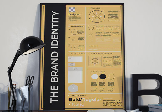 Brand Identity Poster Layout with Tan Accent
