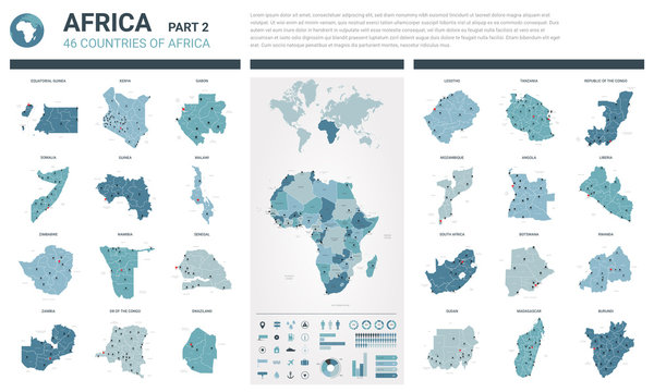 Vector maps set.  High detailed 46 maps of African countries with administrative division and cities. Political map, map of Africa continent, world map, globe, infographic elements.  Part 2.