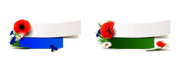 Banner Set mit Blumenwiese Dekoration - Mohn, Kornblume, Margerite