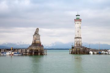 Germany, Bavaria, Lindau, Harbor entrance, Lighthouse and Bavarian Lion