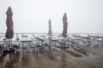 Germany, Bavaria, Allgaeu, Allgaeu Alps, Mountain station Kanzelwand, empty view terrace and fog
