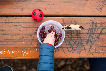 Kind mit Spielzeug isst Weintrauben. Kid playing with toys and eating grapes on wodden table.