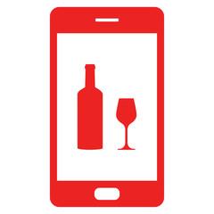 Weinglas und Smartphone