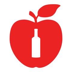 Flasche und Apfel