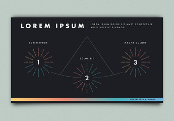 Three Part Radial Infographic Layout with Dark Background