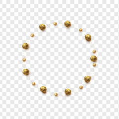 Gold round chocolates in foil, pearls and scattering of glitter isolated on transparent background.