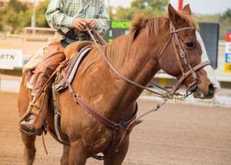 man horseback riding on a brown horse on a race track.