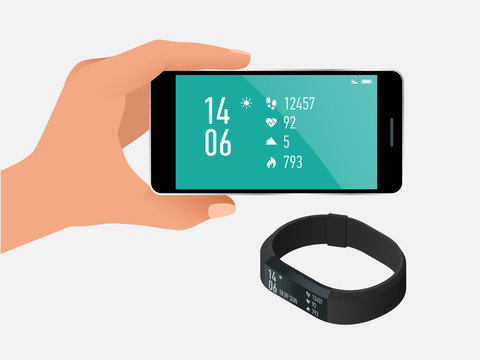 Fitness bracelet or tracker with a smartphone isolated on white. Sports accessories, a wristband with running activity steps counter and heartbeat pulse meter.