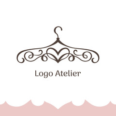 Logo for Atelier, wedding boutique, women's dress shop. Vector template of the brand for the fashion designer. Stylized clothes hanger made of twisted lines and heart