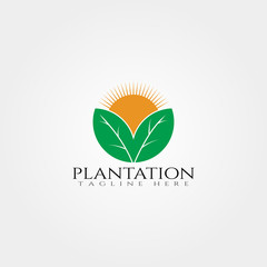 Plantation icon template,creative vector logo design,farm,agriculture symbol,illustration element