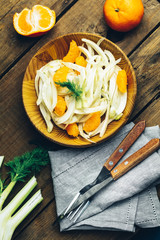 Traditional sicilian italian salad with fennel and tangerine