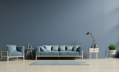 Living room with sofa, shelf and plants on blue dark wall,minimal design, 3D rendering