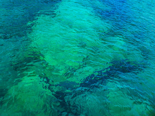 Perfect crystal clear turquoise shallow sea water