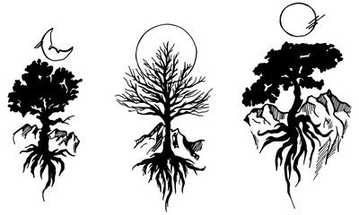 Set tattoo the tree on the background of the sun and moon on an isolated background. Black and white illustration.