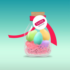 Easter day. Holiday greeting element. Egg colorful and ribbon.