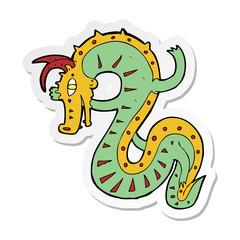 sticker of a saxon dragon cartoon