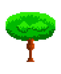 Isolated pixel tree. Videogame. Vector illustration design