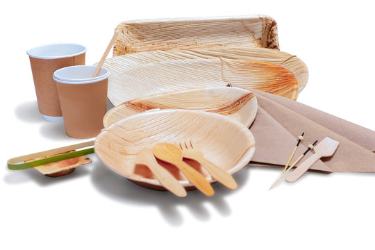 Wooden bamboo disposable tableware with plates and cutlery