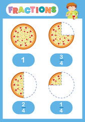 Fractions pizza eduation poster
