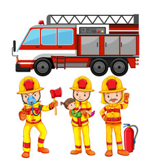 Set of fireman and truck