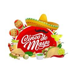 Mexican holiday sombrero and Cinco de Mayo maracas