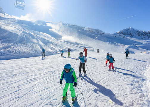 Skier Children at Hintertux Glacier ski resort in Zillertal Austria