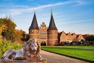 Holsten Gate (Holstentor), a city gate marking off the western boundary of the old center of Lübeck in Schleswig-Holstein, northern Germany.