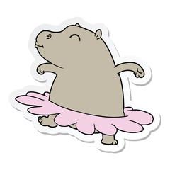 sticker of a cartoon hippo ballerina