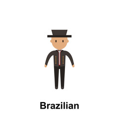 Brazilian, man cartoon icon. Element of People around the world color icon. Premium quality graphic design icon. Signs and symbols collection icon for websites, web design