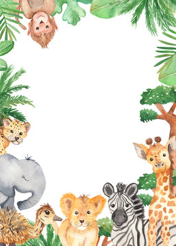 Watercolor frame with cute cartoon animals of Africa. Template for invitation, greeting card, party, baby shower, children's clothing and design.