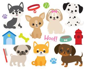 Cute puppy dog vector illustration set including Siberian Husky, Chihuahua, Yorkshire Terrier, Pug, Shiba, Dachshund, Dalmatian, Maltese.