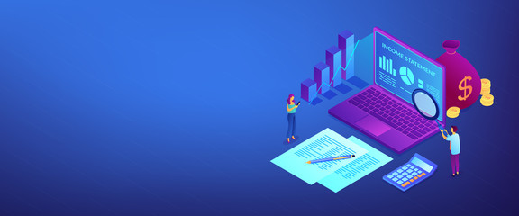 Income statement isometric 3D banner header.
