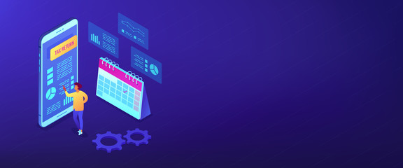 Tax return service isometric 3D banner header.