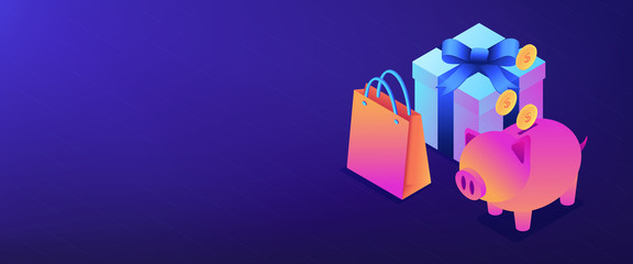 Cash savings isometric 3D banner header.