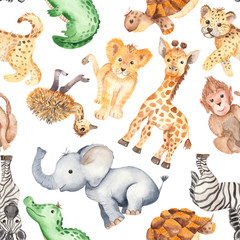 Watercolor pattern with cute cartoon animals of Africa. Texture for wallpaper, packaging, scrapbooking, textiles, fabrics, children's clothing and design.