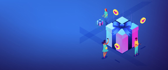 Choosing gift idea isometric 3D banner header.