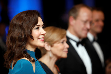 Danish Crown Princess Mary greets supporters in the receiving line at a gala at the Museum of Fine Arts, Houston in Houston, Texas