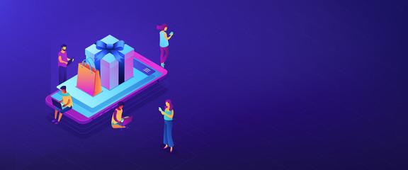 Mobile store app isometric 3D banner header.