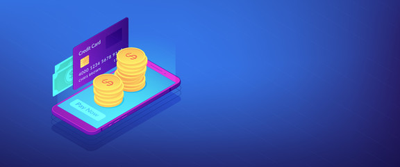 Money transfer isometric 3D banner header.