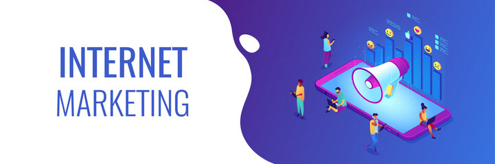 Social media marketing isometric 3D banner header.
