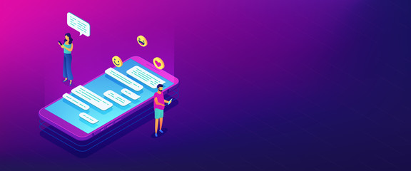 Messaging application isometric 3D banner header.