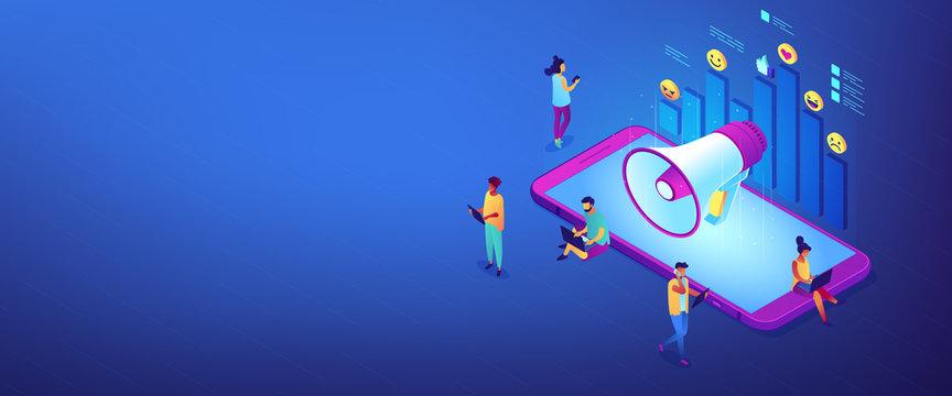 Social media marketing isometric 3D banner header.