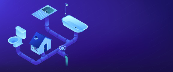 Sewerage system isometric 3D banner header.
