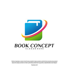 Book Logo concept. Smart Learning Education Logo Design Template Vector. Icon Symbol