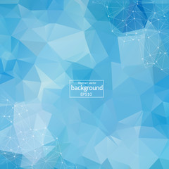 Abstract Blue Polygonal Space Background with Connecting Dots and Lines. Geometric Polygonal background molecule and communication. Concept of science, chemistry, biology, medicine, technology.